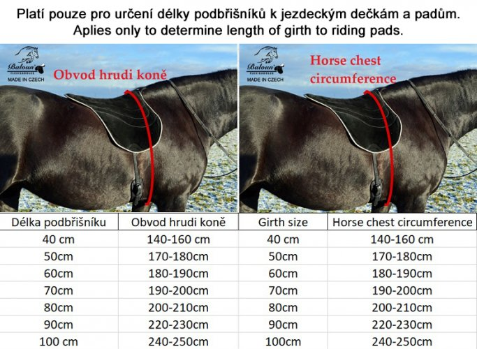 Size chart of girths according to horse's chest circumference. How to correctly measure the horse chest find in product description