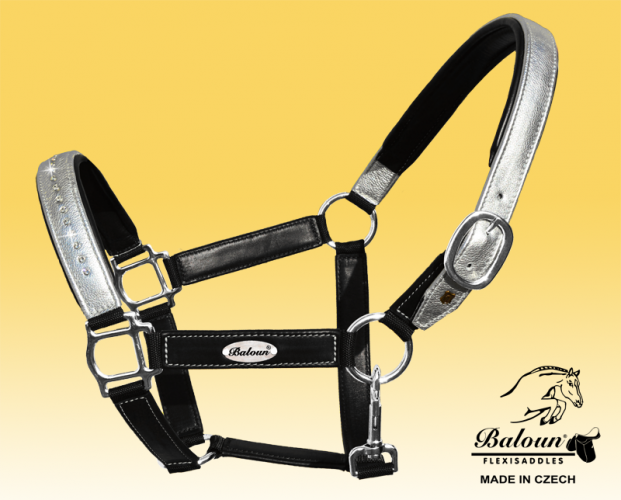 Black leather halter Baloun® with silver design leather, bright stitching and Swarovski crystals
