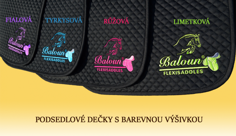 Black saddle pads Baloun® with embroidery in different colors