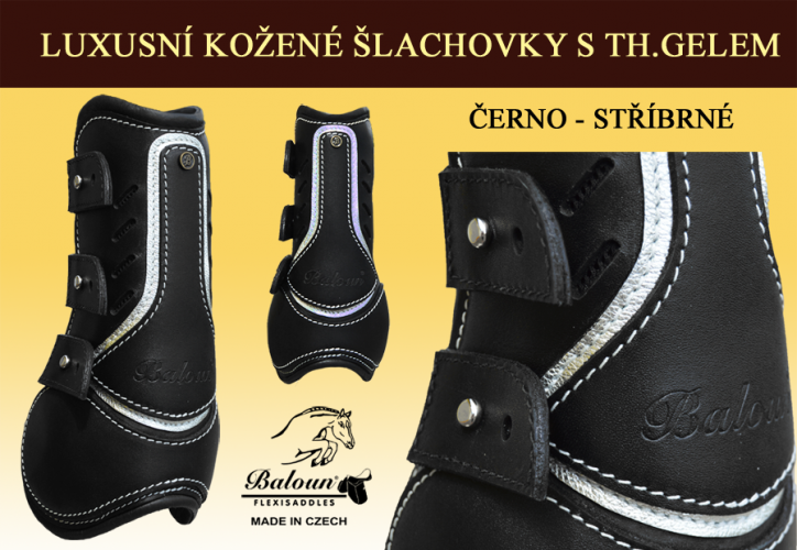 Tendon&Fetlock boots Baloun® -  made of black leather and silver design leather