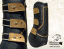 Leather tendon boots Baloun® made of black leather and gold design leather
