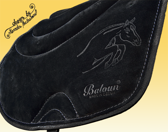 Fully gelled riding pad Baloun® - black velour leather with black hem
