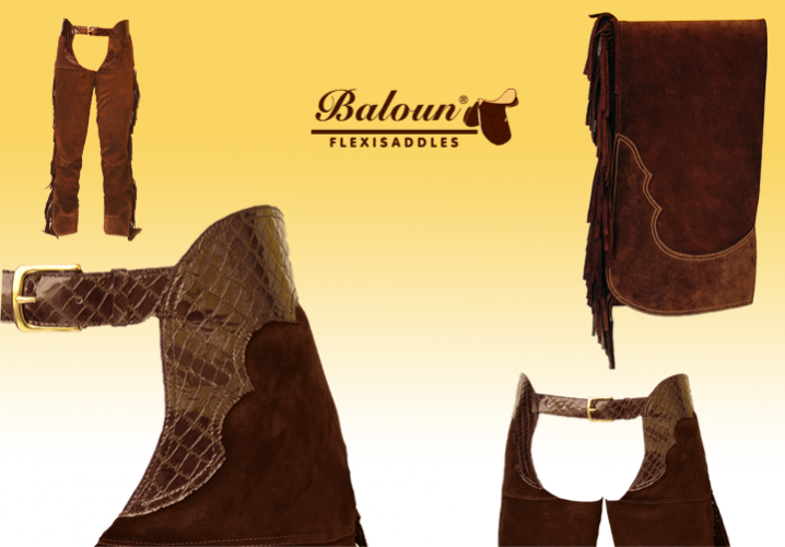 Western full chaps Baloun®. Decorative parts: upper seat made of design leather and bottom hem made of double leather.