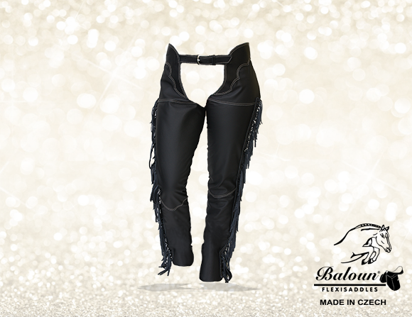 Full chaps Baloun® with fringes made of black smooth leather