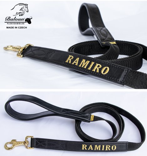 Horse lead rope Baloun® with name. Made of leather and nylon strap. The lead rope is in brown leather to brown set.