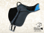 Baloun® saddle for children made of black leather with turquoise paspel and back cantle - model 6