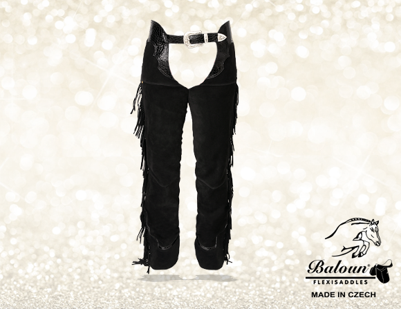Western chaps Baloun® made of black velour leather - with fringes
