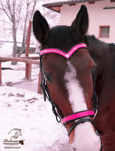 Baloun® pony bridle made of pink leather with Swarovski crystals