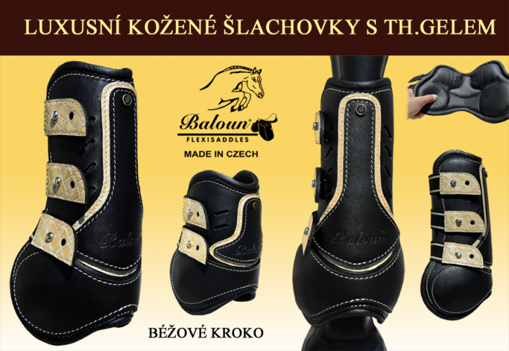 Black horse boots Baloun® with beige croco design leather.
