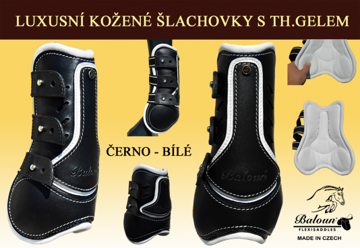 Tendon&Fetlock boots Baloun® -  made of black leather and white design leather