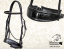 Bridle made of black leather and black croco design leather