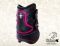 Pony fetlock boots Baloun® made of black leather with pink design leather and Swarovski crystals