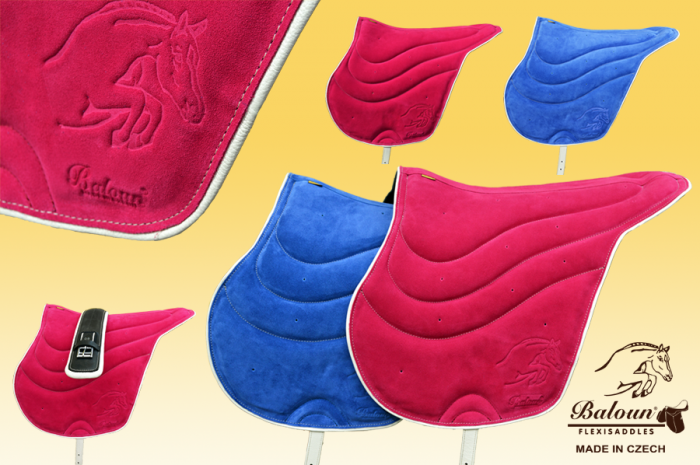 Fully gelled riding pad Baloun® - dark pink and blue velour leather with bright hem