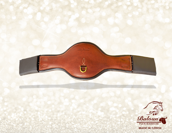 Enlarged girth Baloun® made of chestnut leather. This girth with Baloun® saddle is used for jumping and dressage
