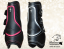 Pony tendon boots Baloun® made of black leather with pink and silver design leather. Complemented by Swarovski crystals