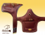 Jumping girth Baloun® with a shield. Made of brown chestnut leather