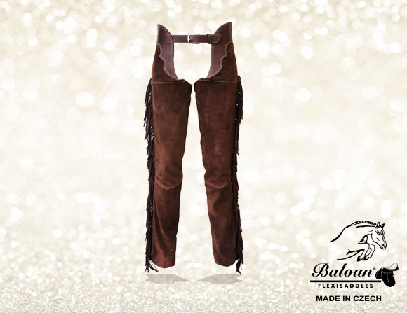Full chaps Baloun® with fringes made of dark brown velour leather
