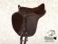 Horse saddle Baloun for kids made of dark brown leather with bright stitching - model 5