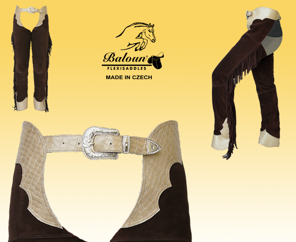 Western chaps Baloun® made of velour leather. Decorative parts: upper seat and bottom part of the pants made of design leather.
