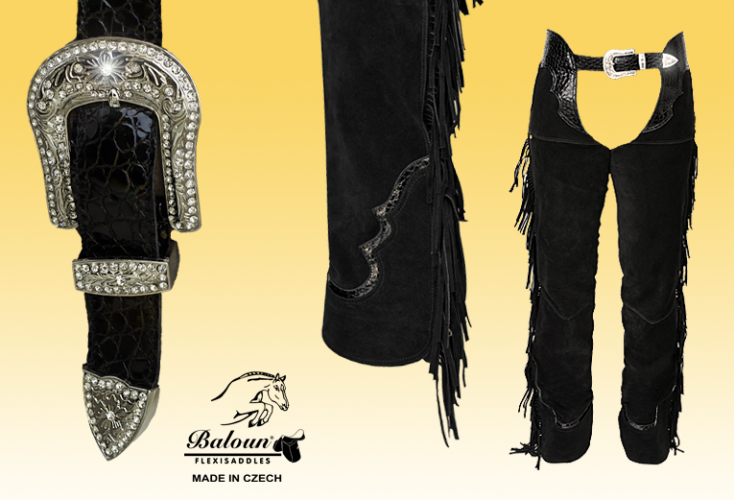 Black western chaps Baloun. Decorative parts: upper seat and bottom hem made of design leather.