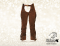 Western full chaps Baloun® made of dark brown velour leather with fringes.