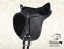 Horse saddle Baloun for kids made of black leather with bright stitching.